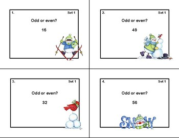 Odd and Even Numbers-Math Task Cards- Grade 2-Snowmen