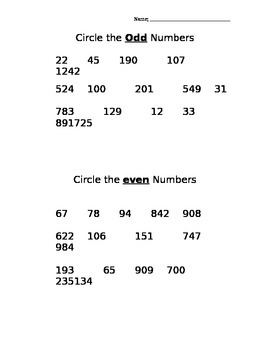 Odd and Even Numbers QUiz