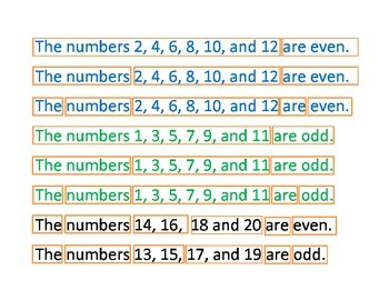 Odd and Even Numbers Sentence Scramble
