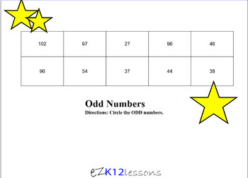 Odd and Even Numbers Smartboard Activity