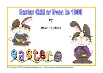 Odd and Even Numbers to 1000 Easter Theme