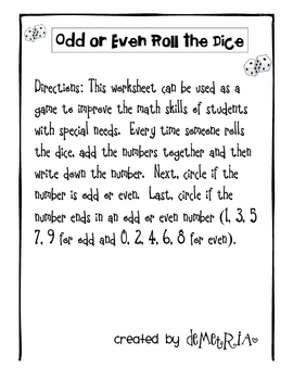 Odd and Even Roll the Dice-Special Education