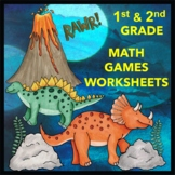 Addition Facts, Compare Numbers, Odd and Even - Dinosaur Games for 1st and 2nd