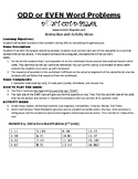 Odd and Even Word Problems Game Puzzle with Worksheet