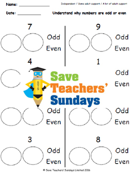Odd and even numbers lesson plans, worksheets and more