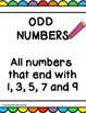 Odd and even numbers posters and worksheets