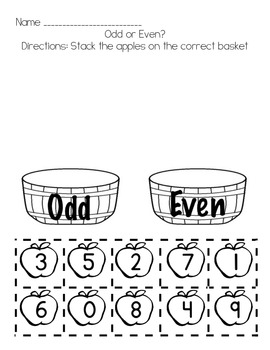 Odd or Even 5 Differentiated Worksheets