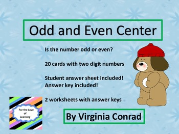Odd or Even Center and Worksheets---Winter Theme