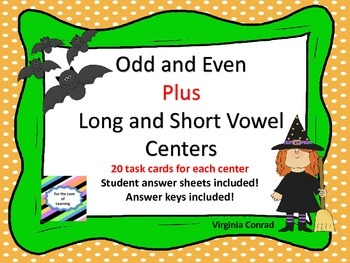 Odd or Even Center plus Long and Short Vowel Center--Halloween theme