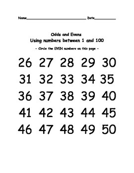 Odd or Even Numbers