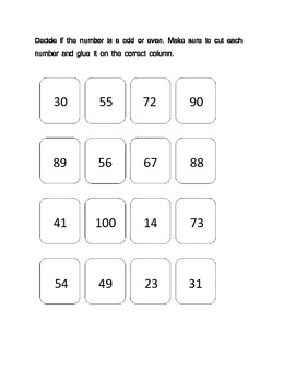 Odd or Even Numbers: Cut, Sort, & Paste Activity