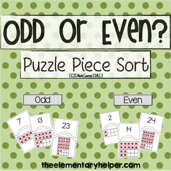 Odd or Even Puzzle Piece Math Sort for Second Grade