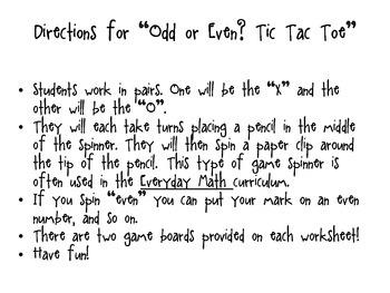 Odd or Even? Tic Tac Toe