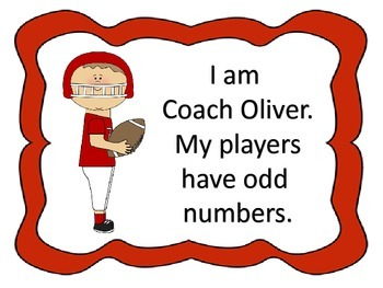Odd or Even--center, activities, & worksheets---football theme