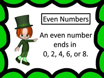 Odd or Even?  center, worksheets, and more--St. Patrick's Day theme