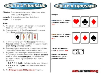 Odd to a Thousand - 2nd Grade Math Game [CCSS 2.NBT.A.4] [CCSS 2.NBT.B.7]