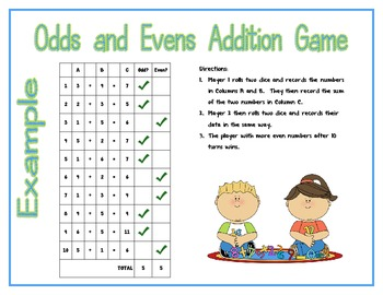 Odds and Evens Addition Game