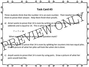 Odds and Evens Task Cards