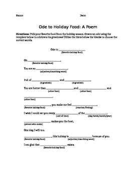 Ode Poem Template- Food by Ms Penguin Preps | Teachers Pay Teachers