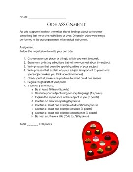 Ode Poetry Assignment