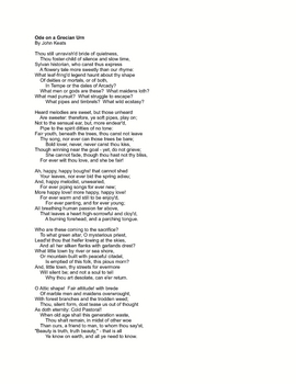 """""""Ode on a Grecian Urn"""" By Keats Classroom Art Print or Gift"""