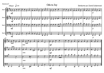 Ode to Joy Beethoven arranged for flexible ensemble by David Catherwood