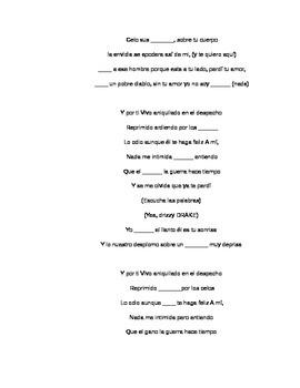 Odio Anthony Romeo Santos/Drake Cloze Spanish activity