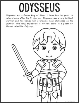Odysseus, Greek Mythology Informational Text Coloring Page Craft or Poster