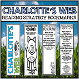 Charlotte's Web Novel Study Unit - Reading Comprehension Strategy Bookmarks