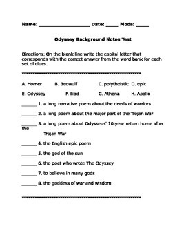 Odyssey Background Notes Test