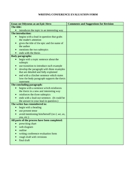 Odyssey Character Analysis Essay Rubric and Conference Evaluation Form