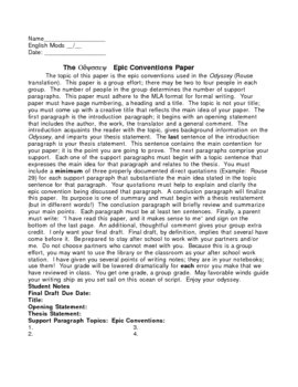 Odyssey Epic conventions Paper