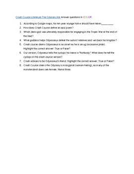 Odyssey Guided Reading Questions companion for Crash Course The Odyssey