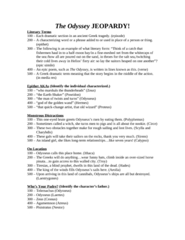 Odyssey JEOPARDY! Three rounds; 60 questions; final JEOPARDY!