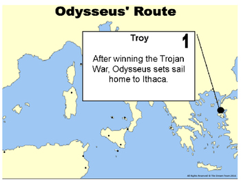 Odyssey Map Graphic Organizer Sequencing Odysseus' Travels