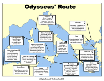 Odyssey Map - Sequencing Odysseus' Travels for Students an