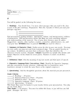 Odyssey Presentation Grade Sheet