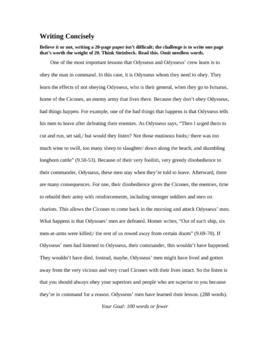 Odyssey Unit: Writing activity regarding conciseness
