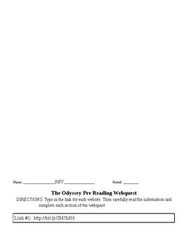 Odyssey Webquest (Pre-reading Activity)