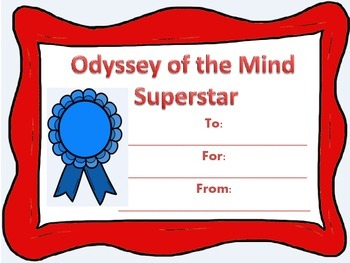 Odyssey of the Mind Award / Certificate