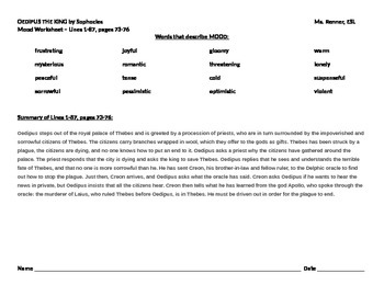 IR Oedipus Lines 1-87 - Mood worksheet