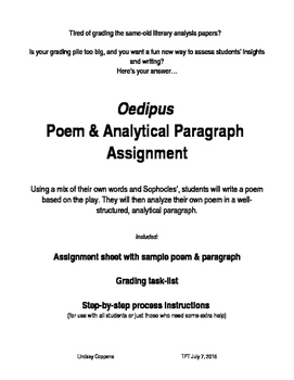 Oedipus Poem & Analytical Paragraph assignment / final assessment