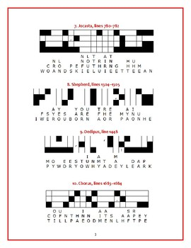 Oedipus Rex: 10 Quotefall Puzzles—Students love these puzzles!
