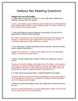 Oedipus Rex / Oedipus the King Reading Questions (with answers)