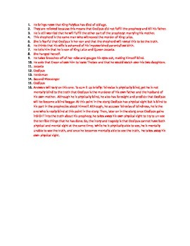 Oedipus Rex Part 2 Reading Quiz with Answer Key