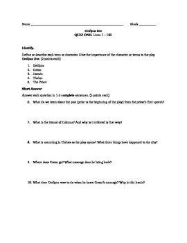 Oedipus Rex Quiz: Lines 1 -160