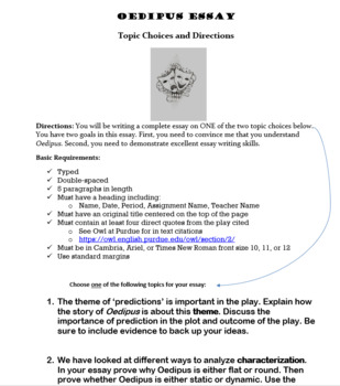 Freebie! Oedipus the King Essay Assignment Handout