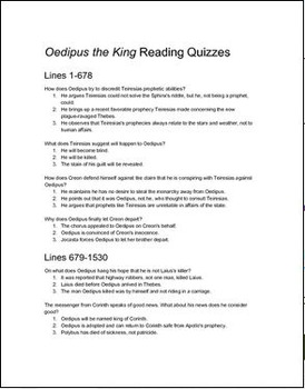 Oedipus the King (Rex/Tyrannus) Reading Quizzes