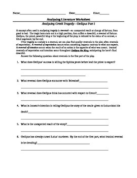 Oedipus the King by Sophocles--Complete Worksheet Packet