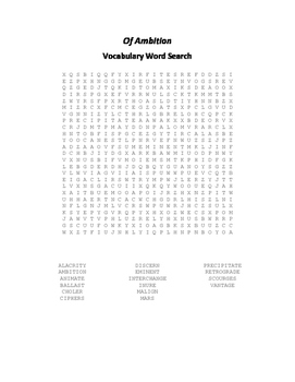 Of Ambition Vocabulary Word Search - Bacon